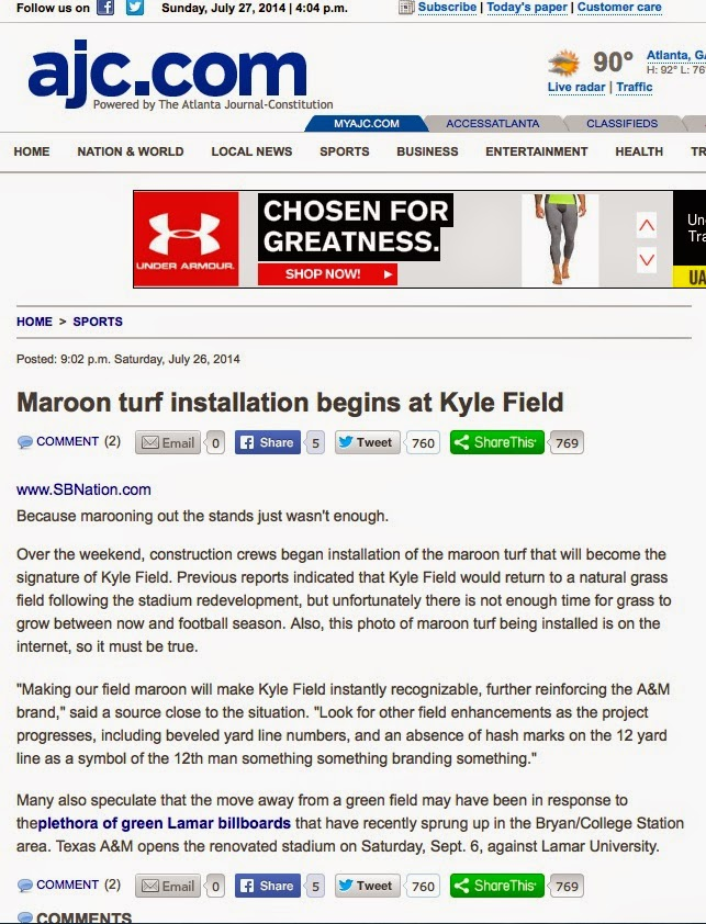 Atlanta Journal-Constitution publishes satirical story about Texas A M installing maroon field at Kyle Field as fact.