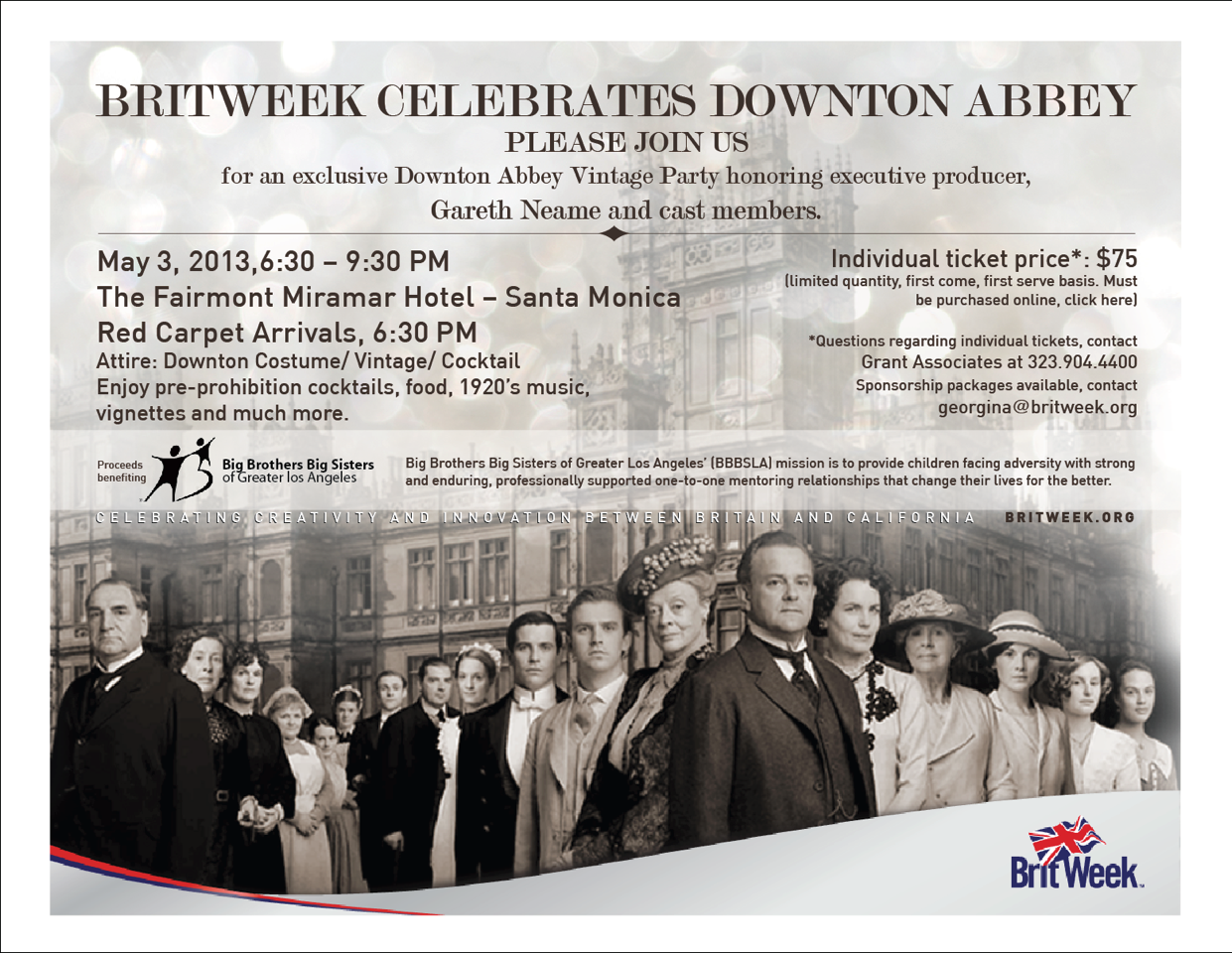 Brits in la newsletter april 8th 2013 for Downton abbey tour tickets
