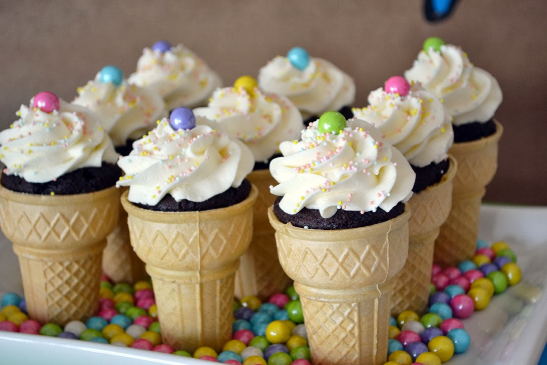 created some ice cream cone cupcakes with sprinkles. This was so ...