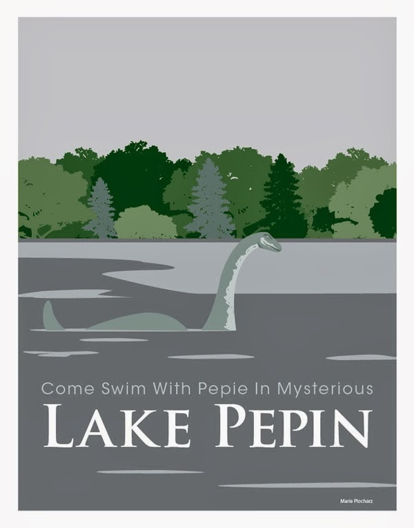 Pepie The Lake Monster in Lake Pepin Minnesota - MN Roadside Attraction Travel Poster