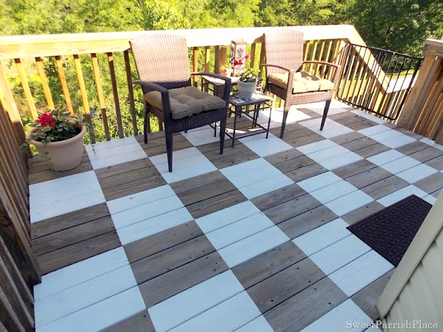 Paint a fabulous patio floor checkerboard floor - by Sweet Parrish Place, featured on I Love That Junk