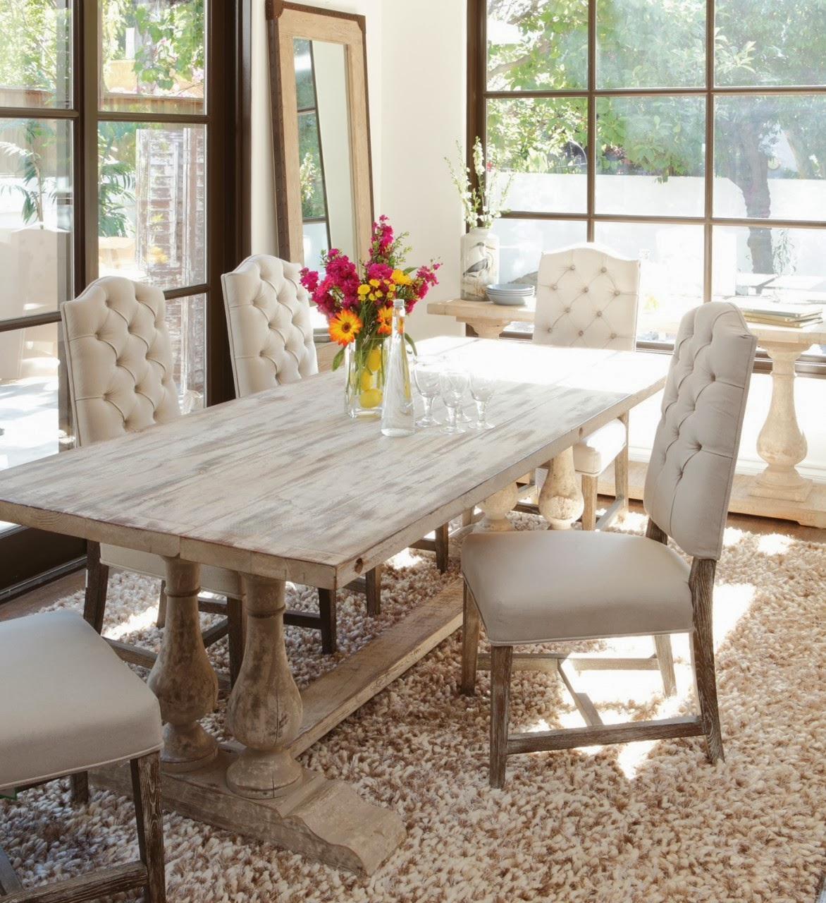 White Distressed Kitchen Table House Revivals Trestle Table Inspiration For Your Home