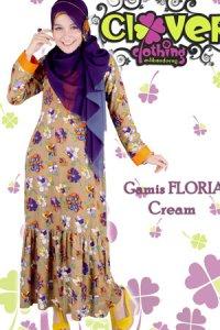Clover Clothing Gamis Floria - Cream (Toko Jilbab dan Busana Muslimah Terbaru)