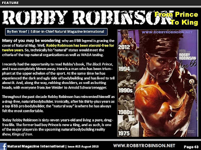 ARTICLE ABOUT ROBBY ROBINSON - FROM PRINCE TO KING NATURAL MAG INTERNATIONAL, AUGUST 2013 ▶ www.robbyrobinson.net