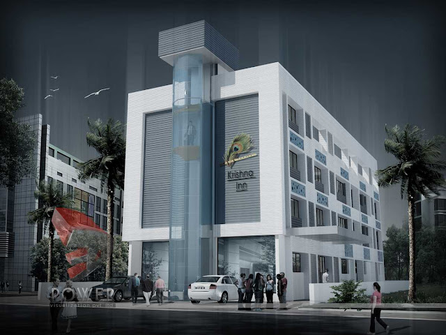 architectural 3d visualization of hotel,3d architectural rendering