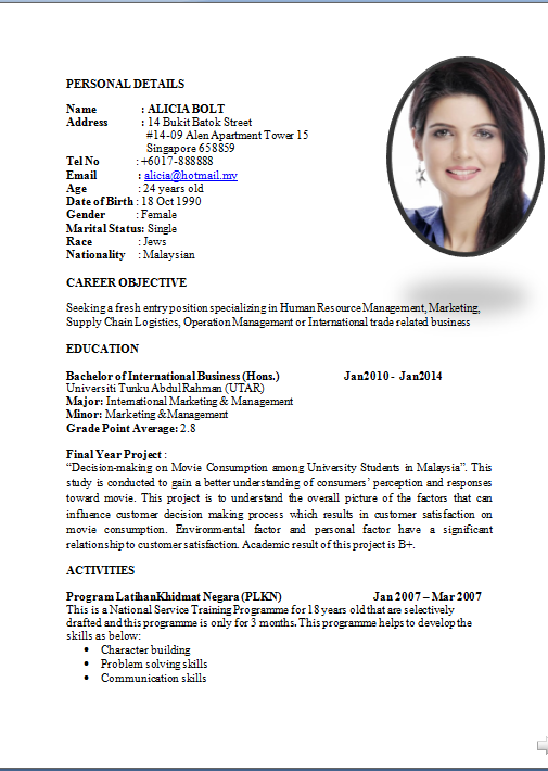 Curriculum Vitae Standard Format Doc Cv Templates And Guidelines