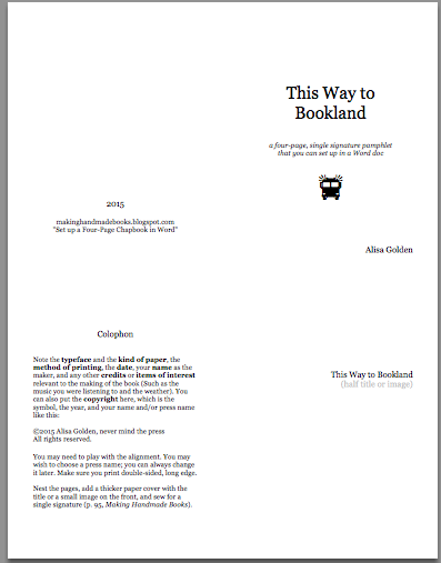 Making Handmade Books: Set up a Four-Page Chapbook in Word