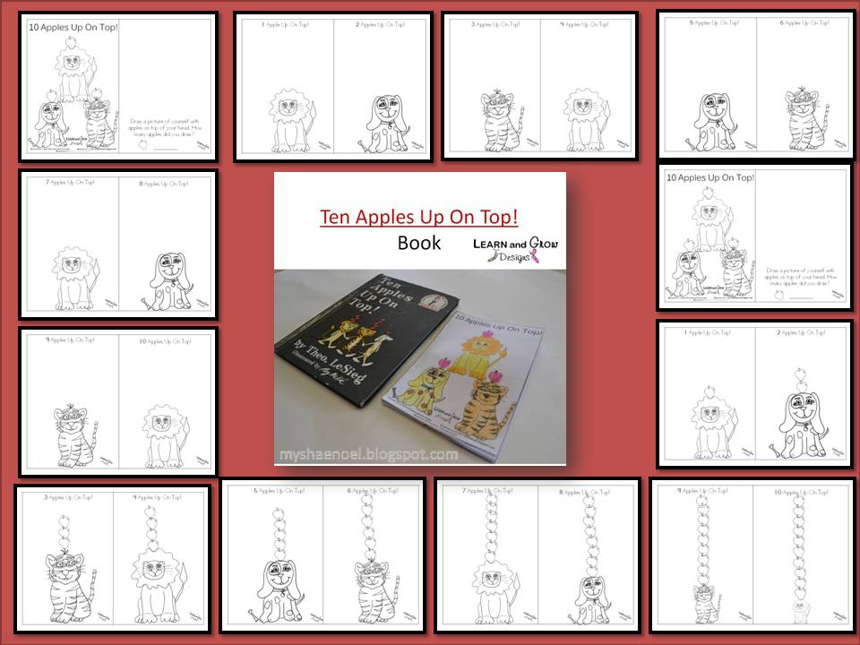 learn and grow designs website dr seusss ten apples up on top mini book craft freebie - Ten Apples Up On Top Coloring Pages