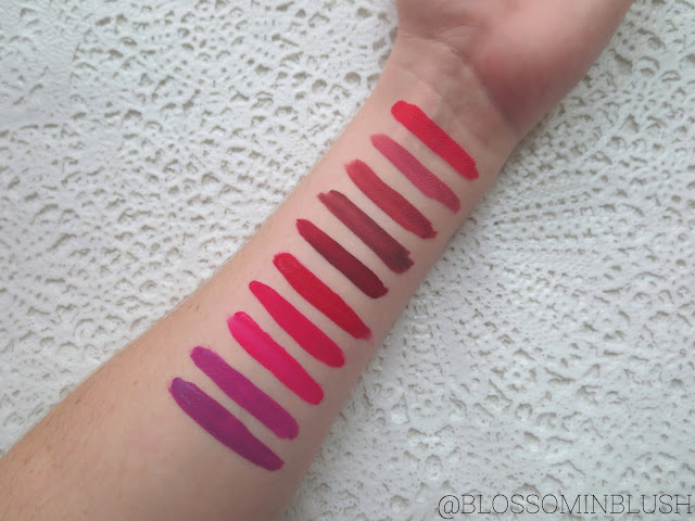 a picture of ColourPop Ultra Matte Lip in : Ouiji, Solow, Bumble, Tulle, Avenue, Creeper, Mars, Highball, Drive-In, Lychee (arm swatch)