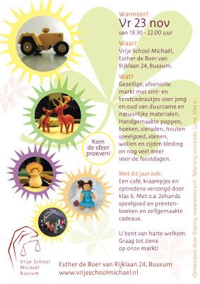 Flyer keerzijde - voor de Herfstmarkt van Vrije School Michael te Bussum
