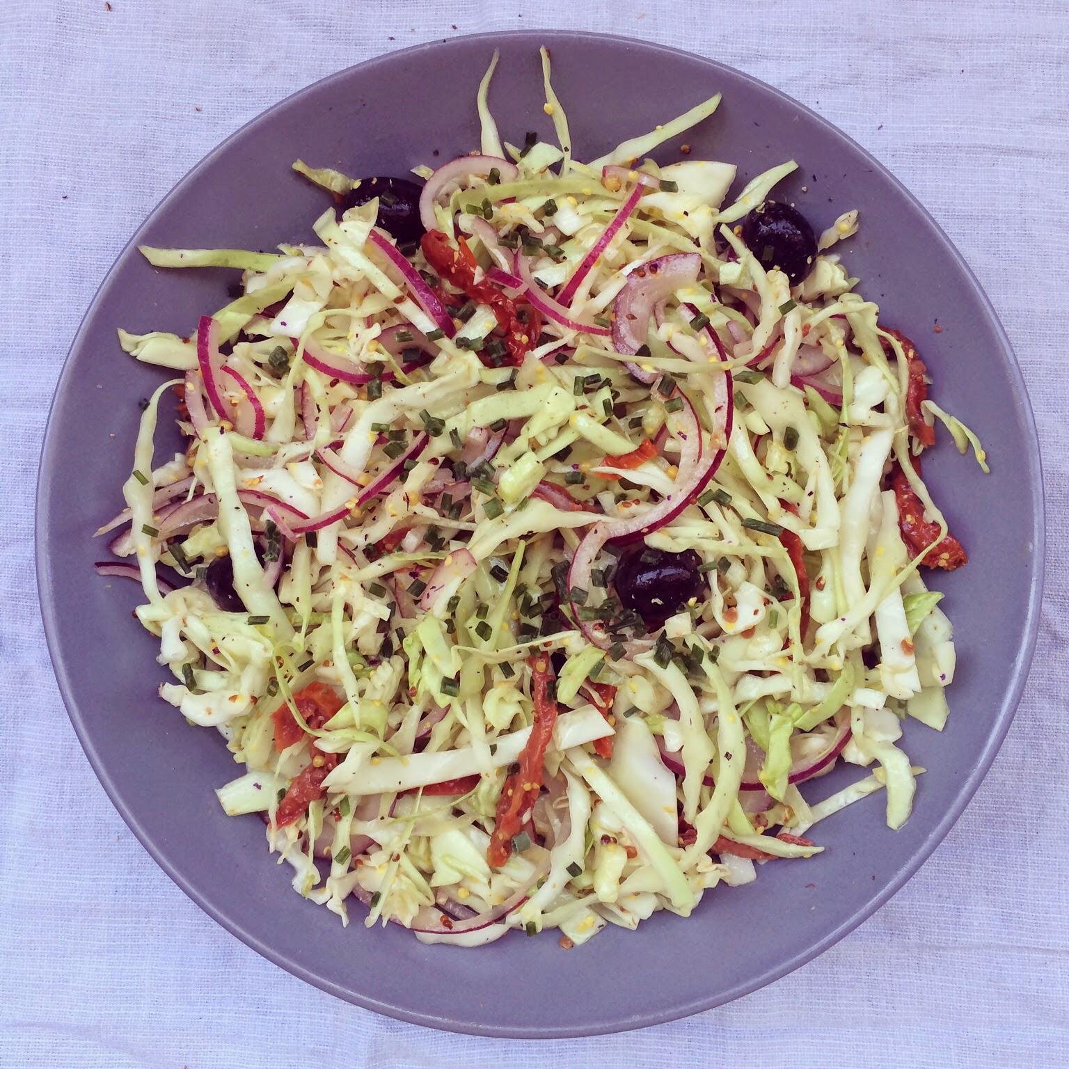 salade chou blanc olives tomates séchées