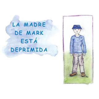 Portada del cuento con título y dibujo de un niño a lapicero que parece Mark