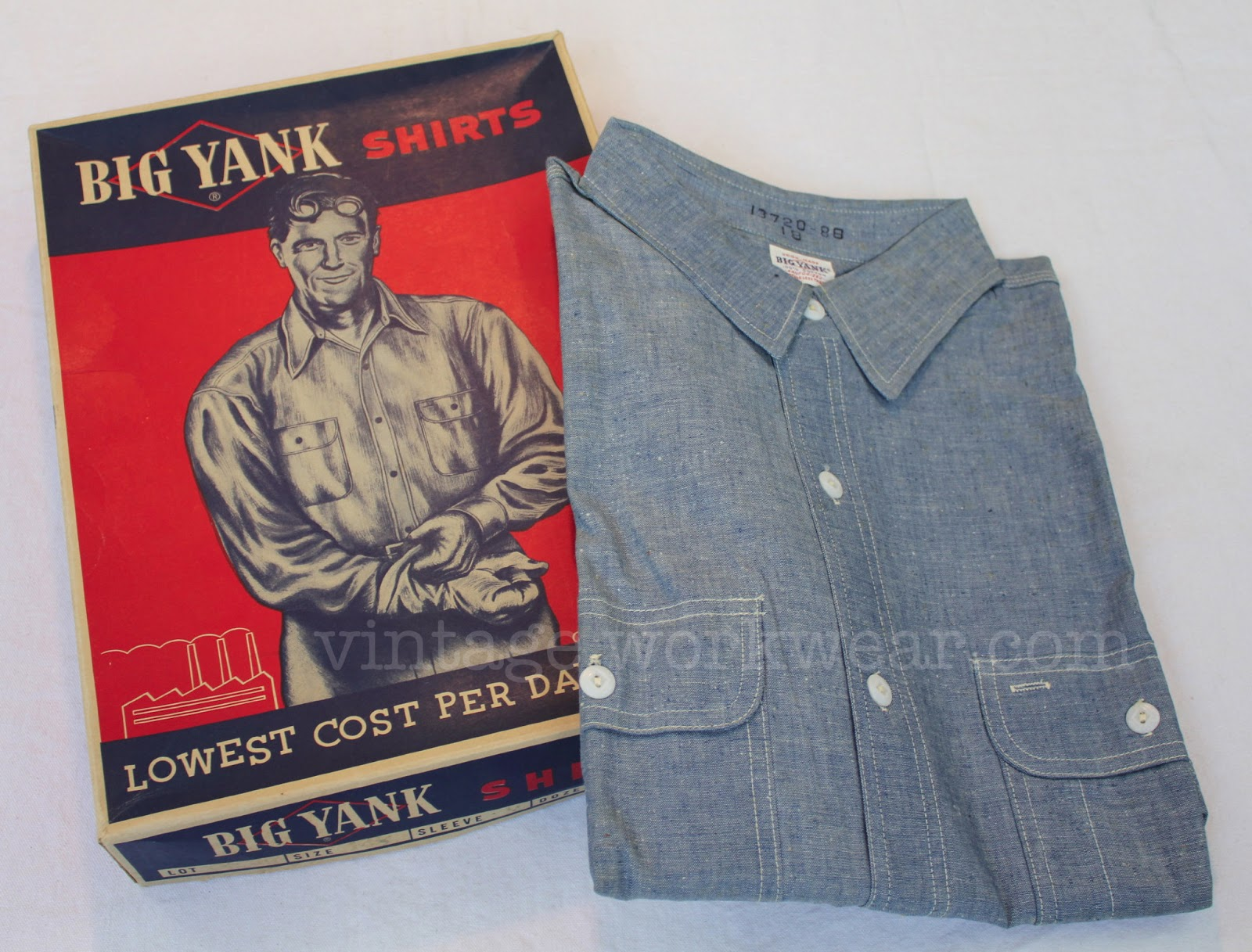 Vintage Yank Chambray Work Shirt With Sweat Proof Pocket