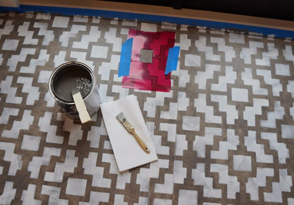 Rosa Beltran Design DIY STENCIL PAINTED FLOOR ROUNDUP AKA FAUX - Faux encaustic tile