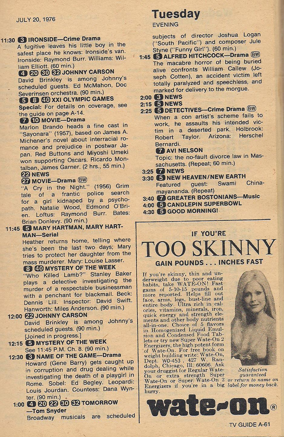 Another Old Movie Blog Tv Guide 1976 The Search For