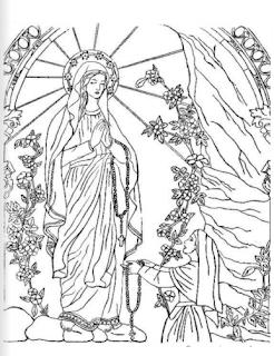 Nuestra Señora de Lourdes para colorear