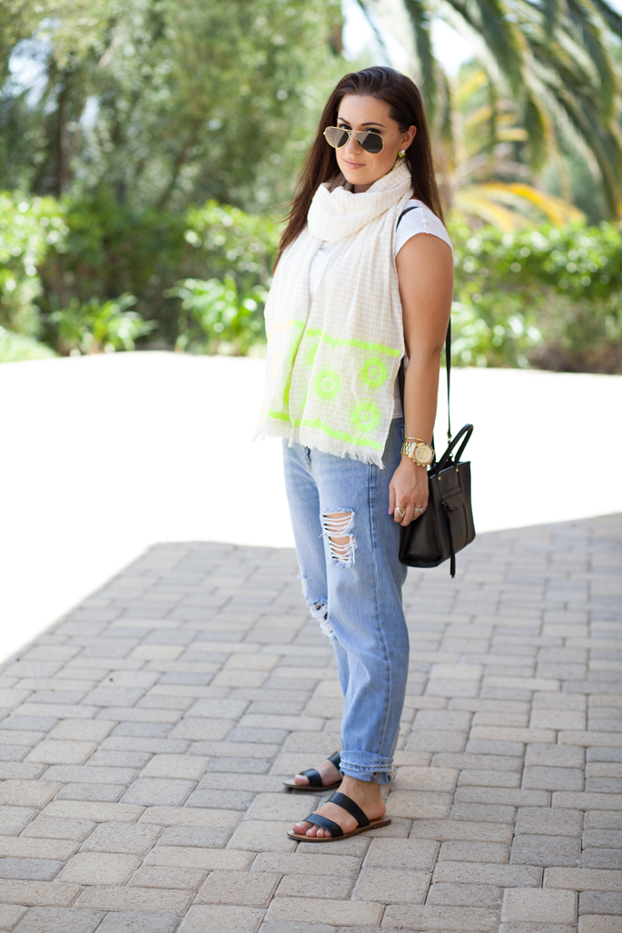 double strap sandals, gold ray ban sunglasses, neon scarf