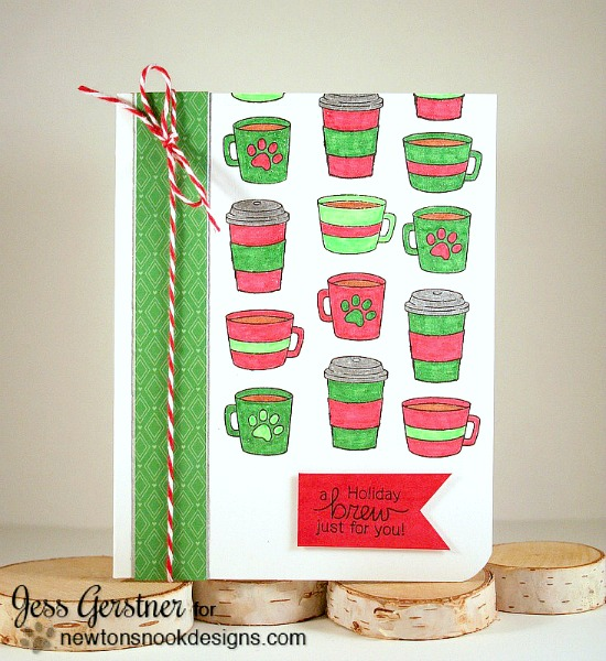 A Holiday Coffee Card by Jessica Gerstner | Newton Loves Coffee Stamp set by Newton's Nook Designs #newtonsnook #coffee