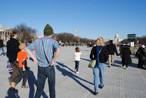 Almost no one but us walking the Mall! Underfoot is grass protection.