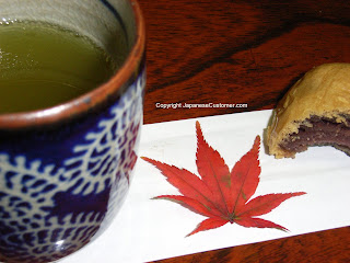 Green tea and red bean snack copyright peter hanami 2013