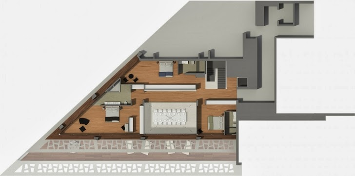 Second floor plan of Modern villa by Studio Aristo