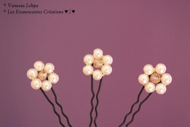 beauc pics à chignon pour mariage, fleur  en perles et cristal. Idéal pour chignon et demoiselle d'honneur.