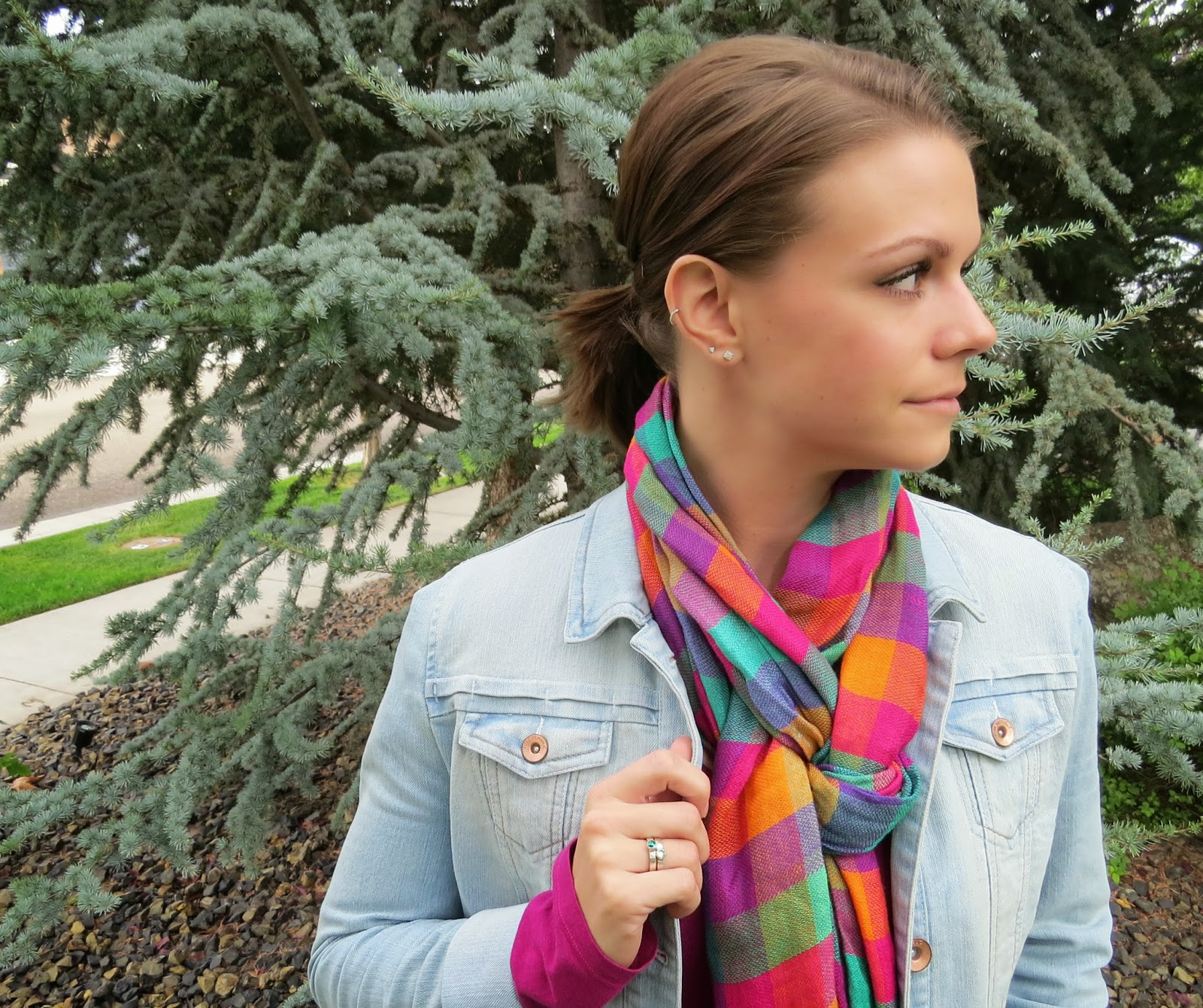 Bright Plaid Scarf with a Light Jean Jacket