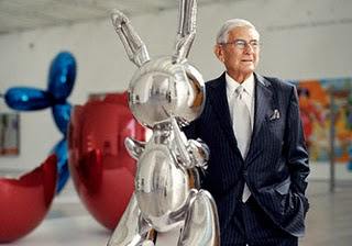 billionaire art collector Eli Broad with Jeff Koons Rabbit - or maybe it's his imaginary friend