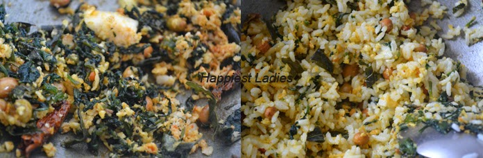 steps of Spinach Rice/ Palak Rice