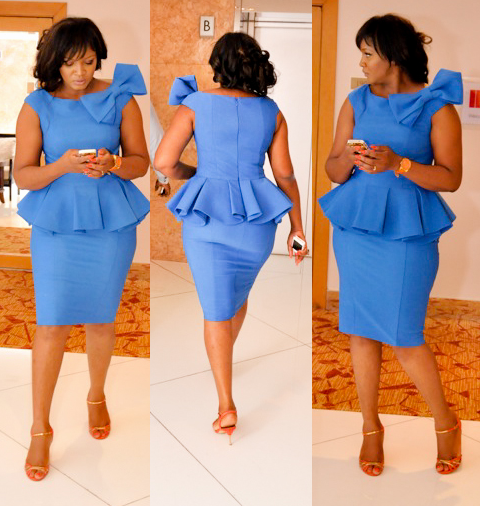 Holiday Over! Omotola J. Ekeinde Is Lovely In Blue At Pampers Convention – Photos