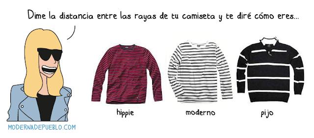 Ilustración Camisetas a rayas de Raquel Córcoles // http://modernadepueblo.com