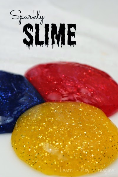 How to make sparkly slime - our favorite two ingredient base recipe with added color and the best glitter on the market.