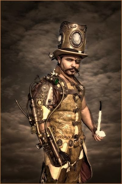 Steampunk Villain Cosplay, mens clothing, top hat, pipe, eyepatch, steam-powered arm)