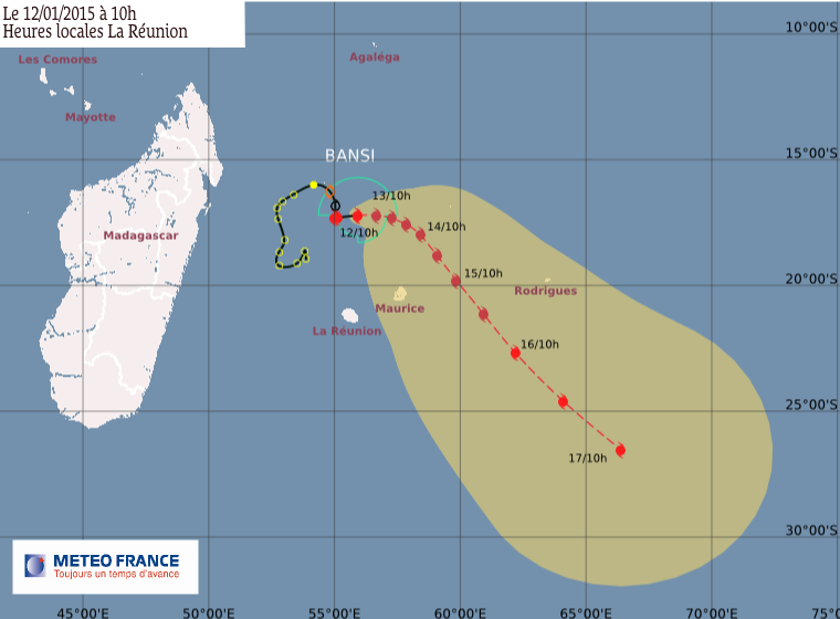 Cyclone tropical intense Bansi: le point à 13h00