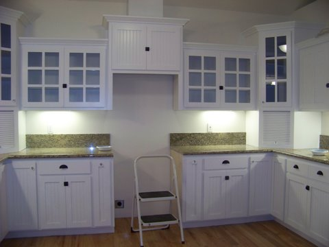 painted white style doors with beadboard