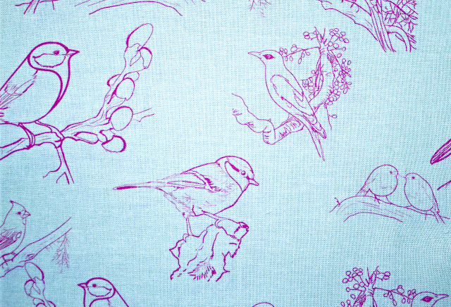 toile, designer fabric, costume textile design, birds, blue, pink