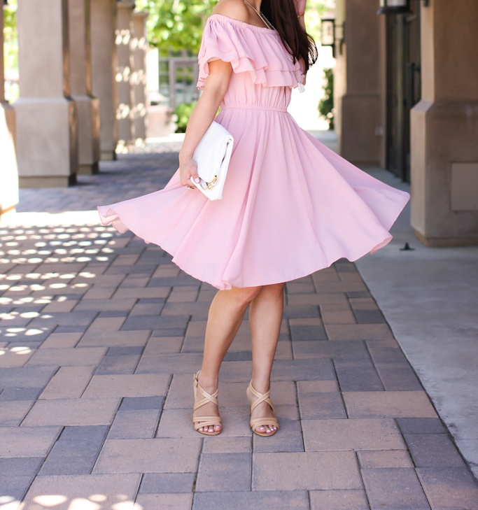 Chicwish Endless Off-shoulder Frilling Dress in Pastel Pink white floppy hat white clutch Isalo strappy nude sandals