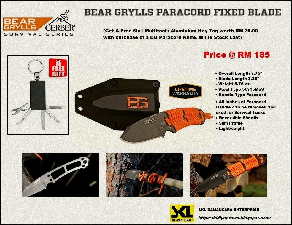 Bear Grylls Paracord Fixed Blade now at RM 185