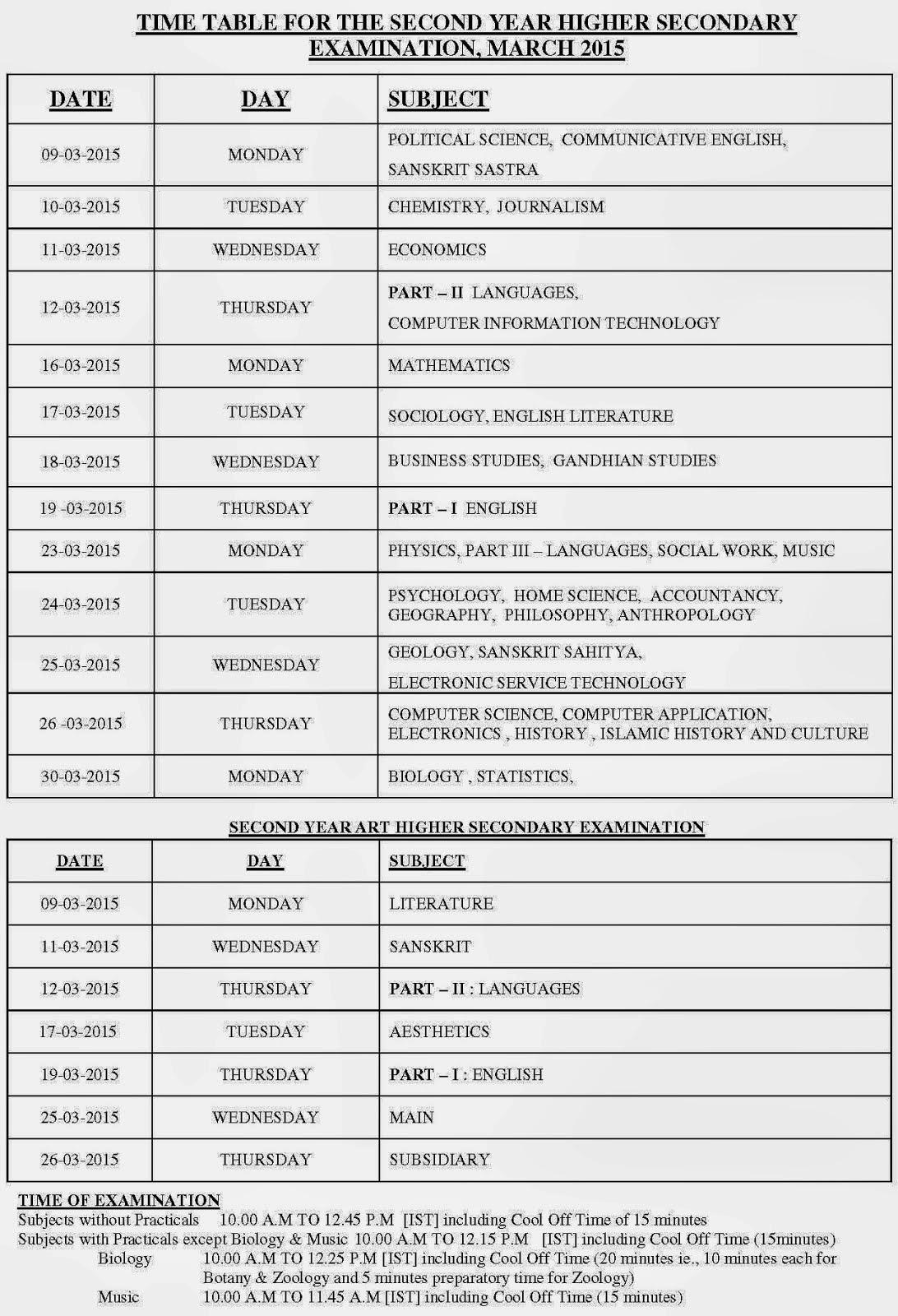 dhse kerala hse 2015 timetable