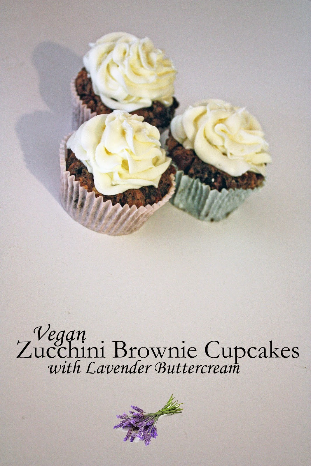vegan zucchini brownie cupcakes with lavender buttercream