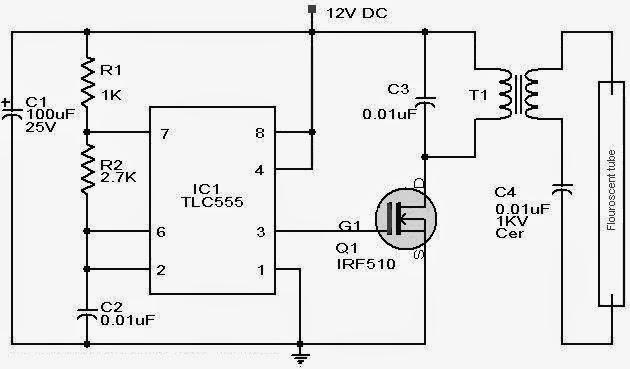 skema inverter lampu tl 12 volt