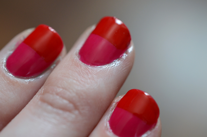 Colorblocked Nails - Essie Really Red & Bachelorette Bash