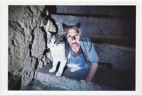 dirty photos - noah's ark fauna photo of double exposure of old lady and cat