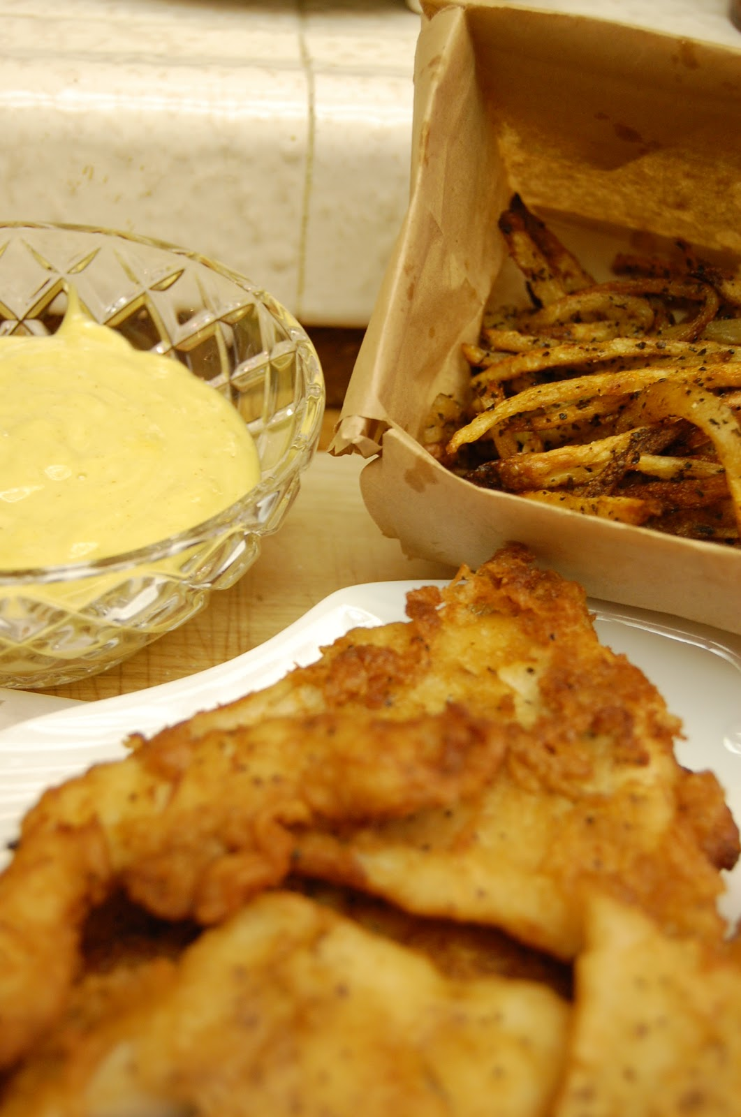 Bread + Butter: Beer Batter Fish and Baked Chips with Garlic Aioli