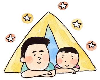 キャンプのイラスト「親子でテント」