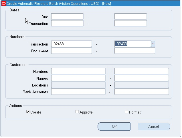 automatic receipts and remittance in r12 create receipts