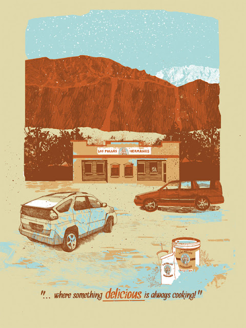 Breaking Gifs Limited Edition Breaking Bad Screen Prints - Los Pollos Hermanos by Jessica Deahl