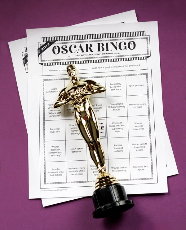 2013 Oscar bingo printable cards