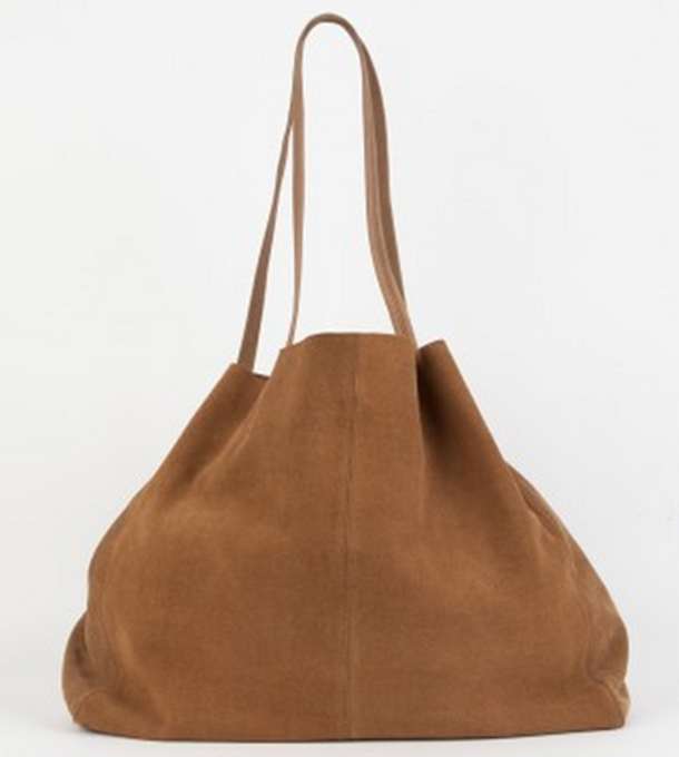 bolso, marrón, ante