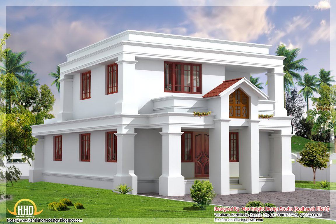 Cute flat roof indian home elevation 1630 sq ft for Cute house design
